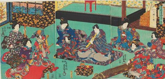 「江戸時代の三曲合奏風景」葛飾応為(北斎の娘)
