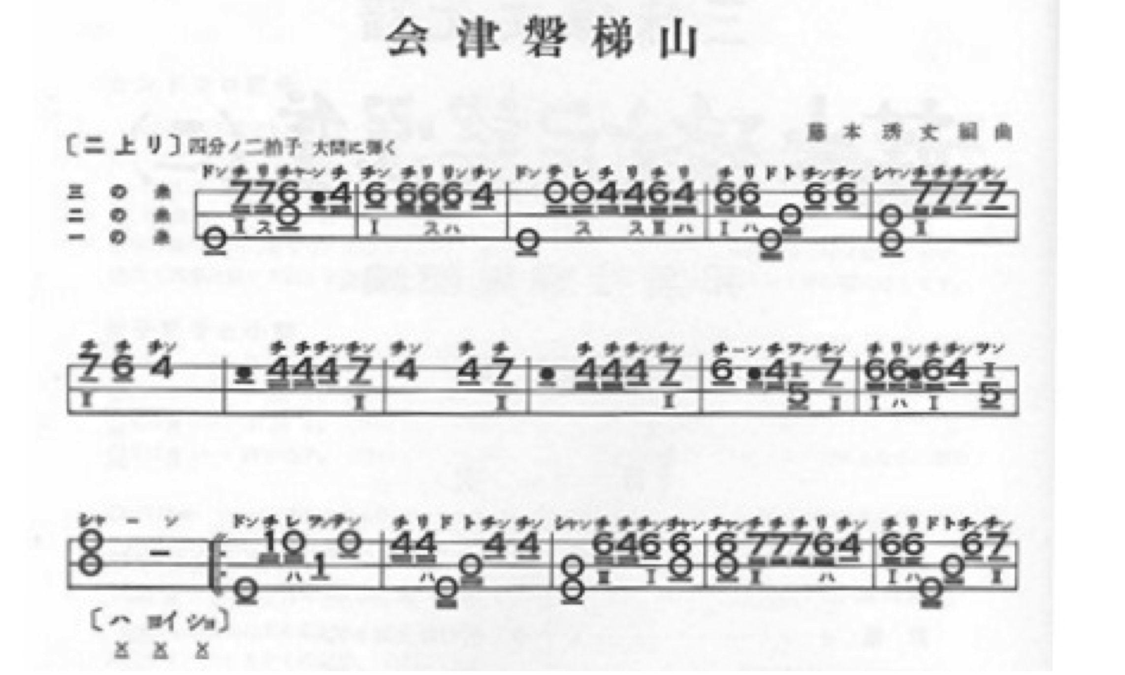 11.福島県民謡「会津磐梯山」の三線譜