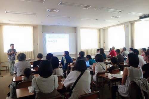 午後は、フリージャーナリストの守田さんの講演会。西日本豪雨や原発災害などからの身の守り方を教えて頂きました。