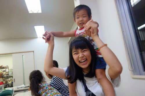 今年で三回目、10日間ボランティアをしてくれたれいさん!いつも笑顔で子どもたちと接してくれました。